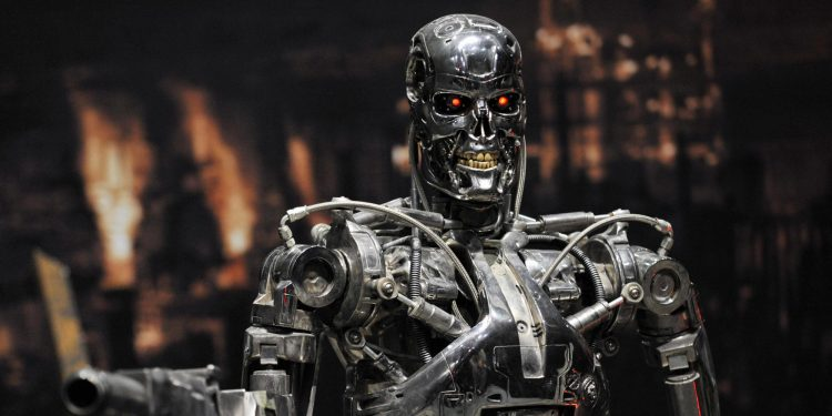 A full-scale figure of a terminator robo