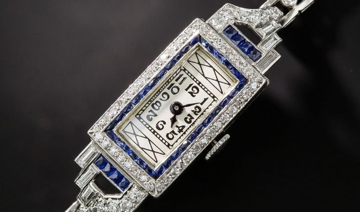 Art Deco Sapphire Platinum and Diamond Watch