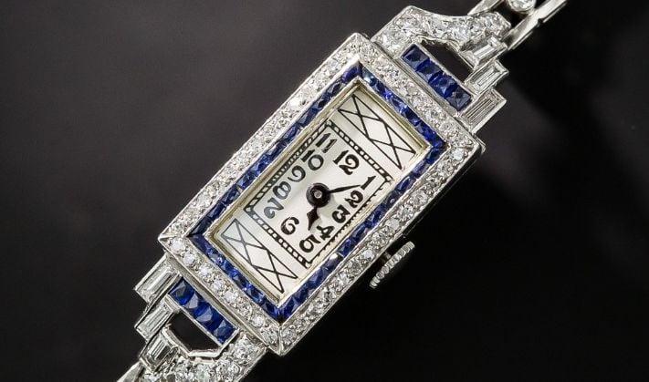 Art Deco Sapphire Platinum and Diamond Watch