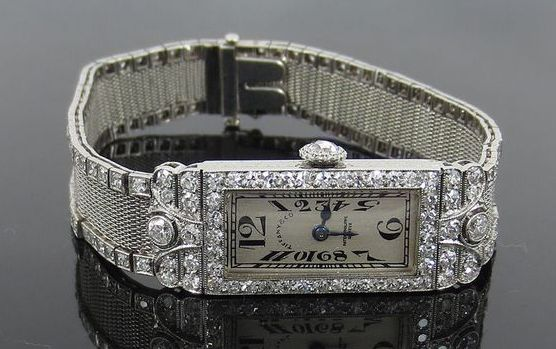 Art Deco Tiffany and Co Patek Philippe Platinum & Diamond Filigree Mesh Watch