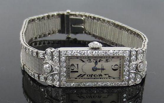 Art Deco Tiffany and Co Patek Philippe Platinum & Diamond Filigree Mesh Watch