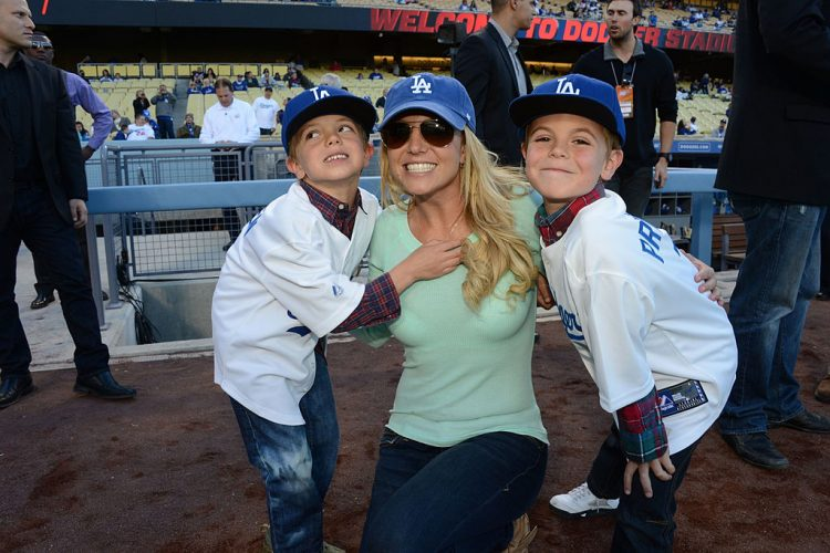 Britney Spears And Sons Visit Dodgers Stadium - April 17, 2013