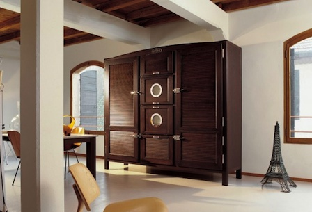 Meneghini Customized wooden fridge freezer