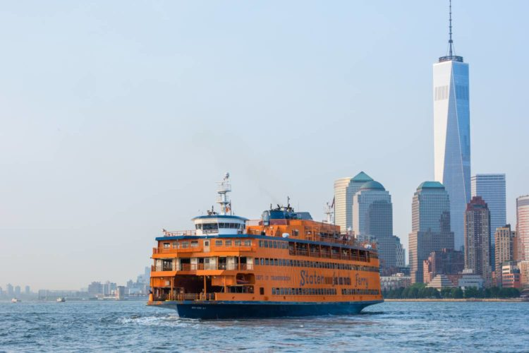 staten island ferry with view of wall street