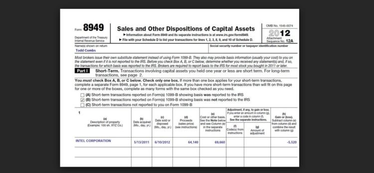 Tax Form 8949 Instructions For Reporting Capital Gains And Losses