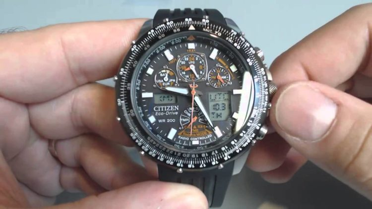 Citizen Eco-Drive Navihawk Atomic Alarm Chronograph Watch