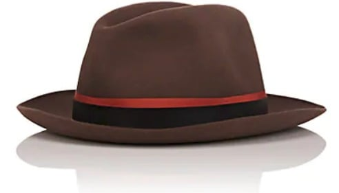 63d0dd12f753d7 The brown rabbit fur and felt Alessandria model fedora is made of 100%  rabbit fur felt and features an orange grosgrain ribbon with a dark brown  leather ...
