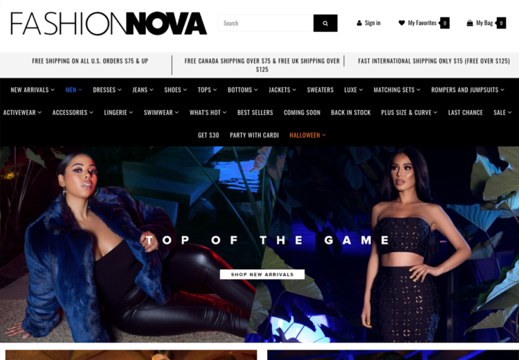 Image result for fashion nova website page""