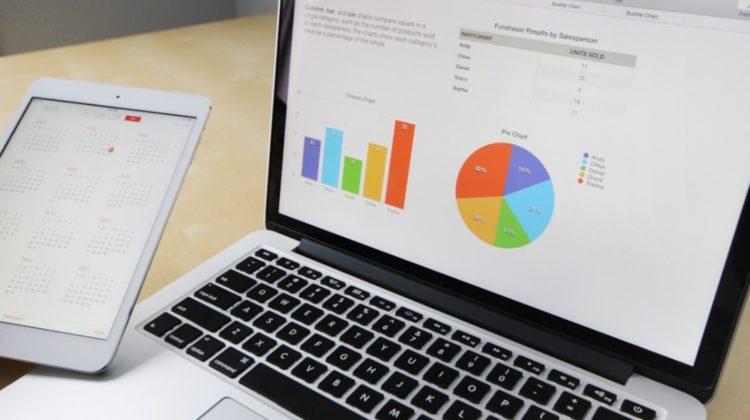 Computer showing a pie graph