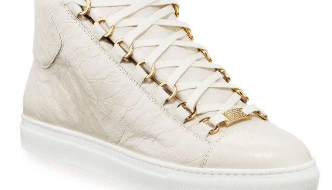 Balenciaga Calf Leather High Top (White With 14k Gold Accents)