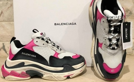Balenciaga Mixed Media Leather Track Shoes (Women's Pink and Blue)
