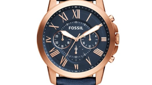 Fossil Grant Chronograph Navy Watch in Rose Gold