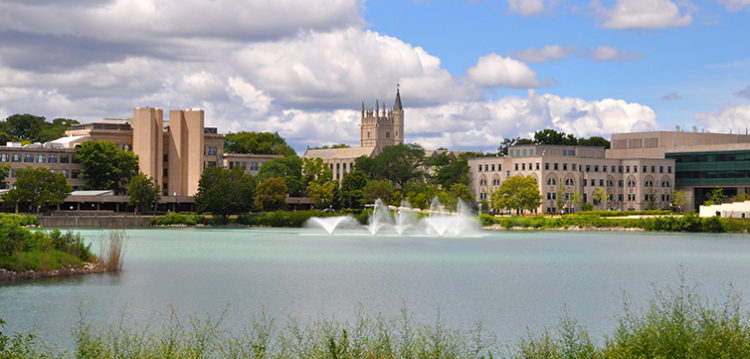 Northwestern university campus lake view