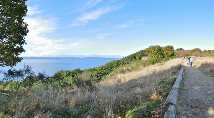 Panoramic view of Puget Sound from Discovery Park Seattle