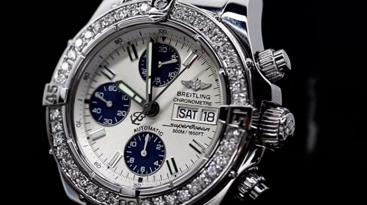 Breitling Diamond Breitling A13340 Super Ocean Stainless Steel Automatic Men's Watch