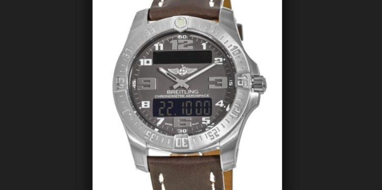 Breitling Professional Aerospace Evo Grey Dial Brown Leather Strap Men's Watch
