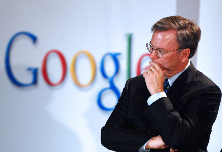 Eric Schmidt, chief executive officer of Google Inc.,