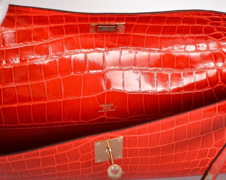 Hermes Geranium Kelly Cut Clutch Bag
