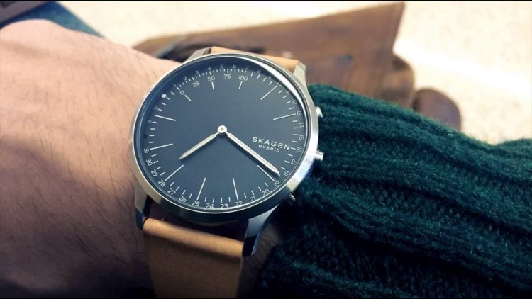Skagen Hald Gray Leather Hybrid Smart Watch
