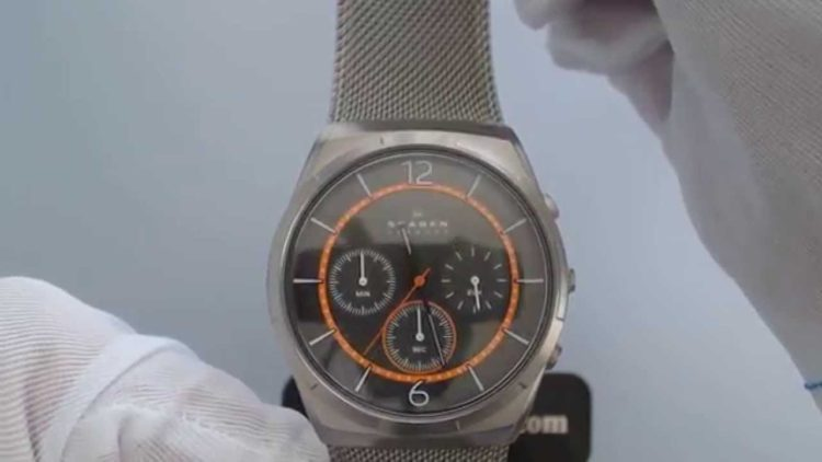 Skagen Melbye Titanium and Gray Steel Mesh Day-Date Watch