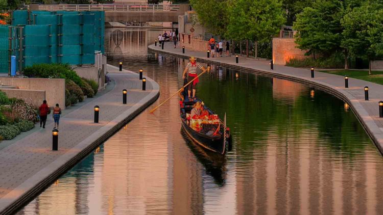 Gondola Along Central Canal