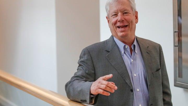U.S. economist Richard Thaler arrives at this office after winning the 2017 Nobel Economics Prize