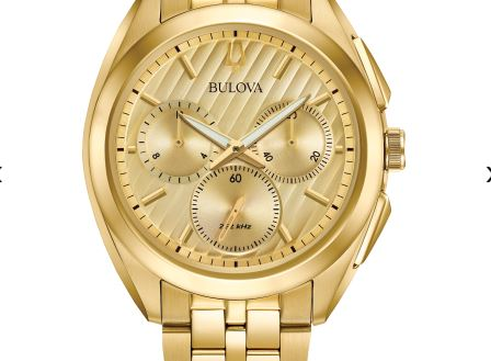Bulova Men's Curved Gold-Tone Chronograph Dial Watch