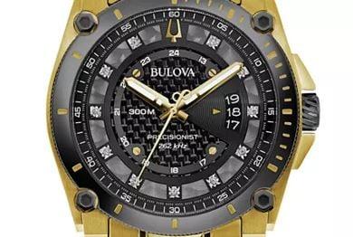 Bulova Men's Precisionist Gold Tone Diamond Accent Bracelet Watch