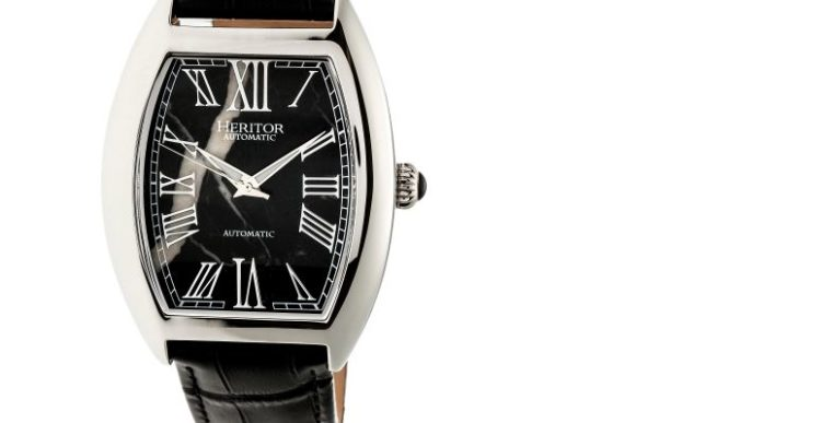Heritor Baron Black Marble Men's Watch