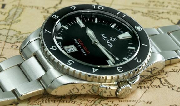 Monta Oceanking 12 Hour Bezel With Date Leather strap