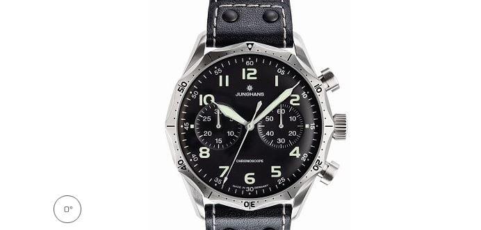 Junghans Meister Pilot Chronscope Watch Black Dial Numerals 0273590.00