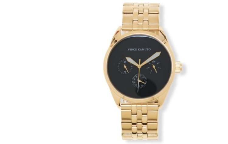 Vince Camuto's Men's Goldtone and Black Chain Link Watch