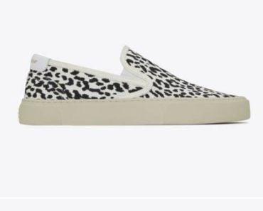 Saint Laurent Venice leopard-print canvas slip-on sneakers
