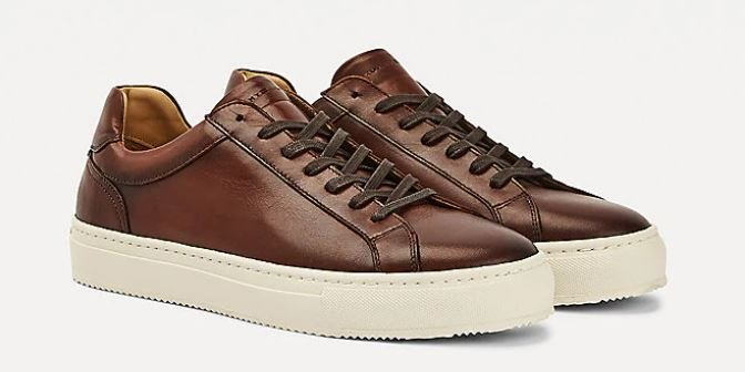 Tommy Hilfiger Premium Cognac Brown Leather Cupsole Sneakers