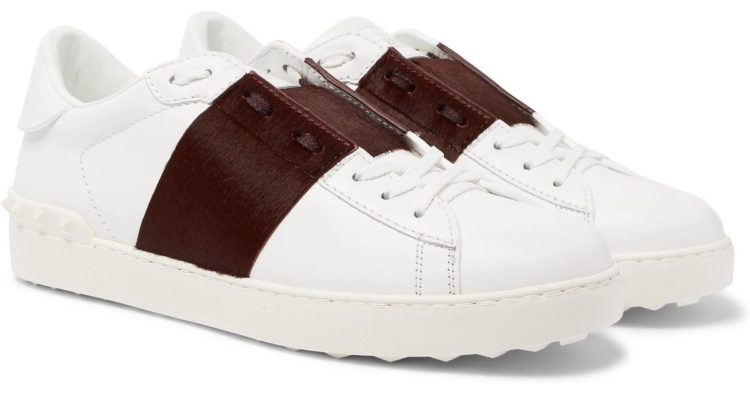Valentino Open Stripe-Panel Leather Sneaker