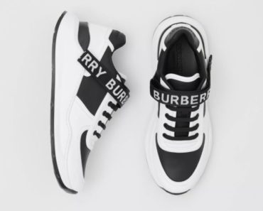 Burberry Logo Detail Leather and Nylon Sneakers