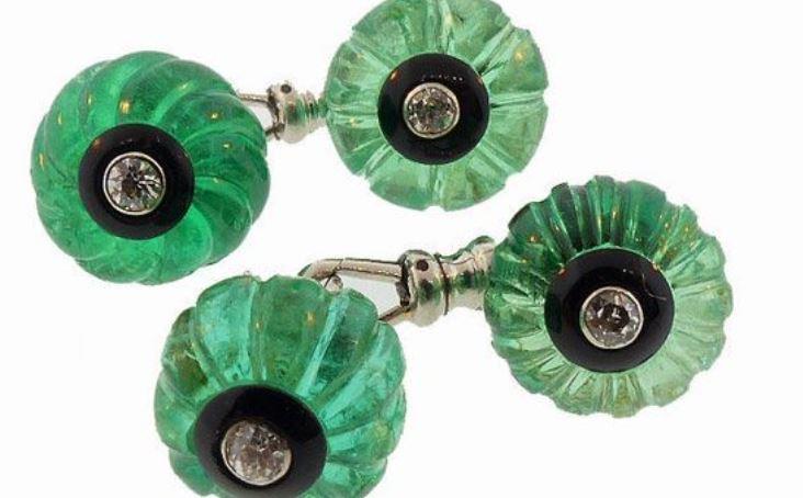 Cartier Art Deco Emerald and Diamond Cufflinks