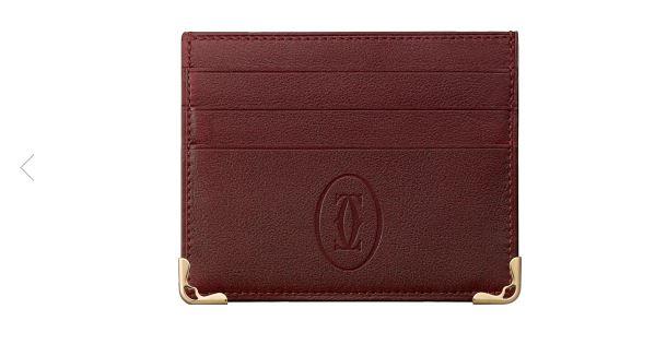 Cartier Burgundy Leather Card Holder