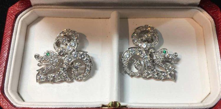 Cartier Diamond Dragon Cufflinks