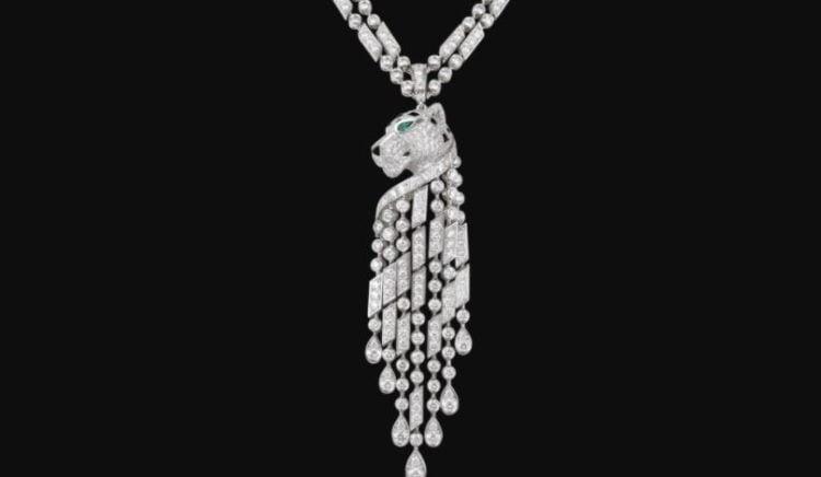 Cartier Diamond Emerald Onyx Platinum Panther Necklace