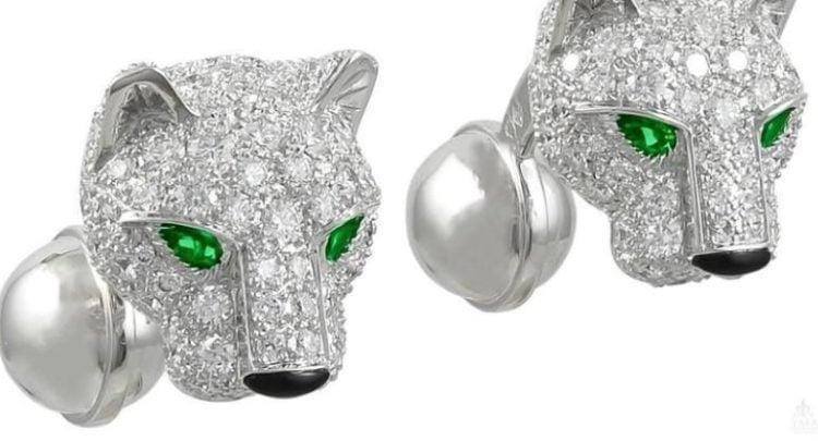Cartier Panthere Diamond Onyx White Gold Cufflinks