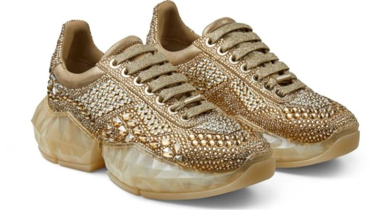 Diamond F Gold Metallic Suede Low-Top Sneakers with Crystal Embellishment