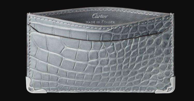 Gray Alligator Skin Must De Cartier Card Holder