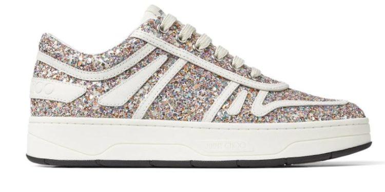 Hawaii F Luminous Glow-In-The-Dark Coarse Glitter Fabric Lace-Up Sneakers