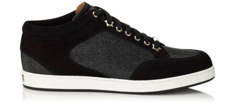 Miami Black Fine Glitter and Suede Sneakers
