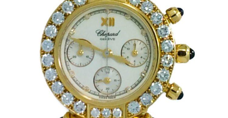 Chopard Ladies Diamond Sapphire Yellow Gold Imperiale Chronograph Wristwatch