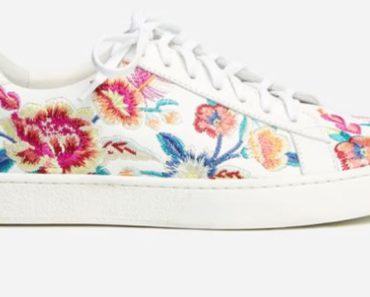 Johnny Was Embroidered Leather floral sneaker