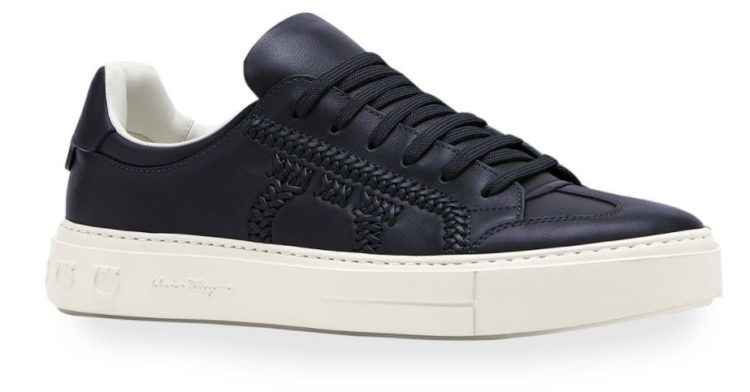 Salvatore Ferragamo Men's Pedros Braided Gancio Logo Leather Sneakers