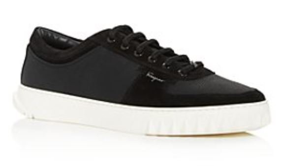 Salvatore Ferragamo Men's Raintop Low Top Sneakers - BlackGray