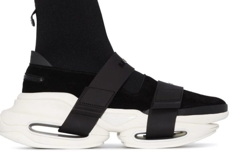 Balmain Black suede and knit B-Bold sneakers with straps
